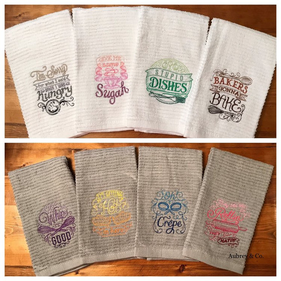 OMBRÉ EMBROIDERED KITCHEN TOWELS