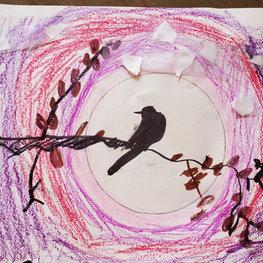 Black Bird on Branch by Gael C.
