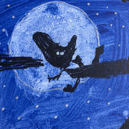 The Owl Perched by the Moon by Hazel D