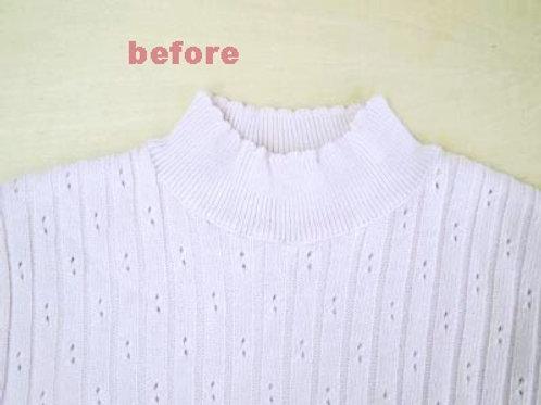 セーターの編み直し(リンキング)による衿の高さ詰め(作業前)