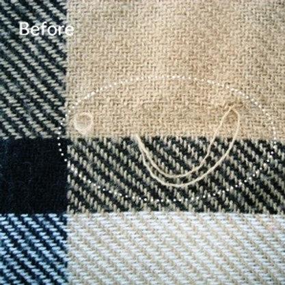 ストールの糸引き、ひきつれ直し(作業前)