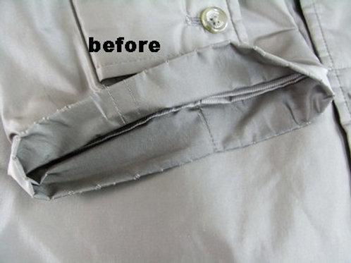 コートの袖口の擦り切れなおし 作業前