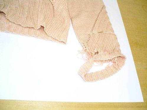 ニットの袖口やぶれ修理(直し前)