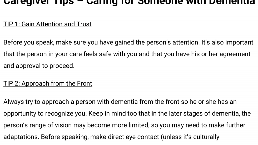 Caregiver Tips - Caring for Someone with Dementia