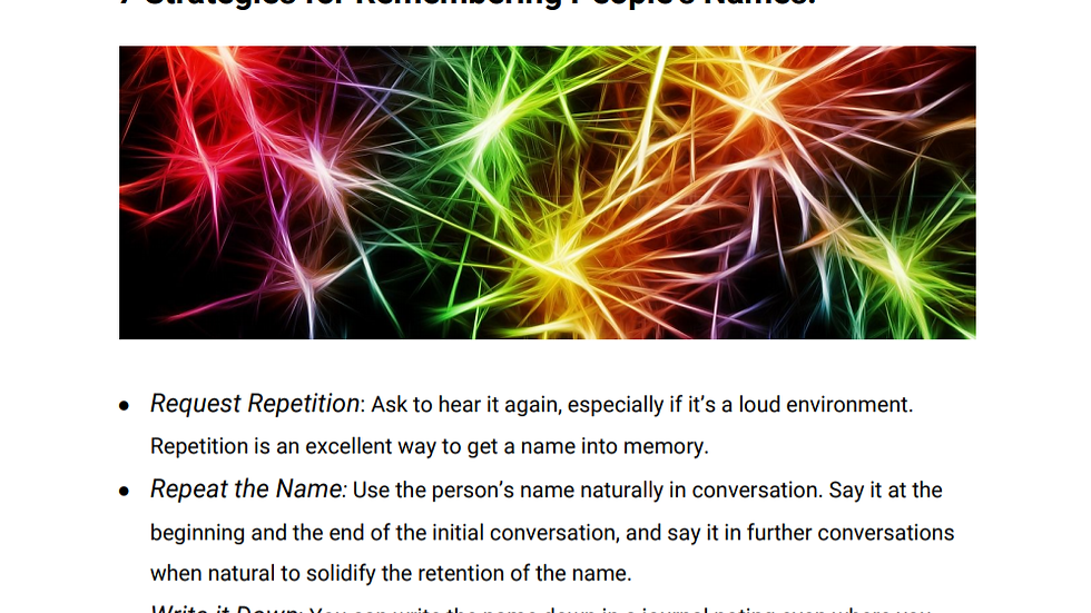 7 Strategies for Remembering People's Names Handout