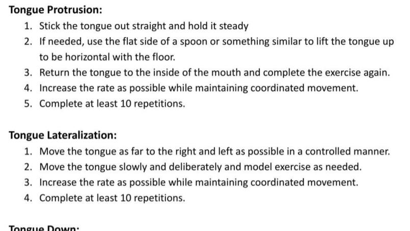 Tongue Exercises Handout