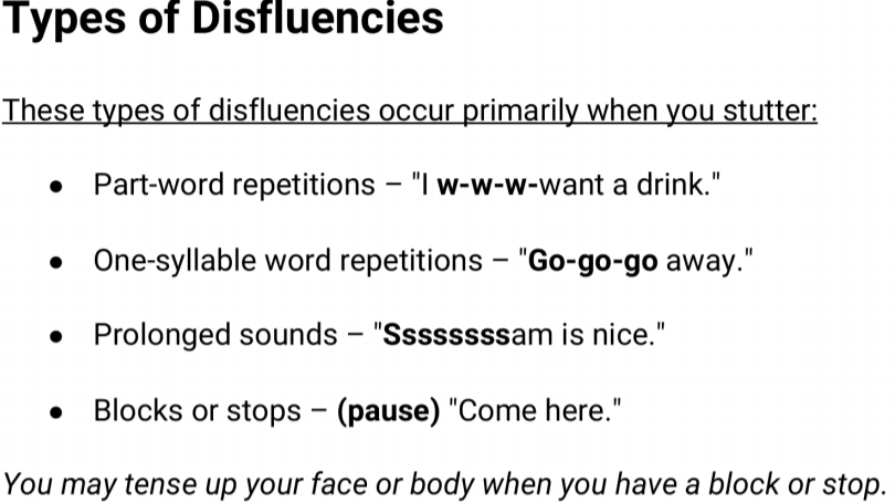 Types of Disfluency Handout