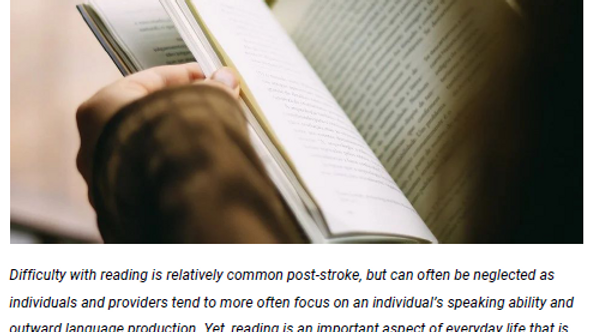 Intensive Reading Therapy for Individuals Post-Stroke - Handout