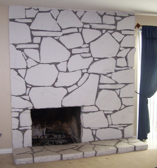 Faux Rock Fireplace before