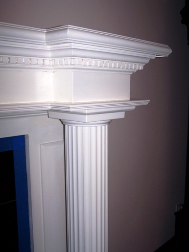 Faux Wood Fireplace pillar before