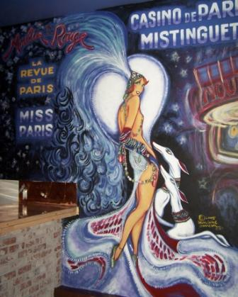 Moulin Rouge Mural Behind Bar