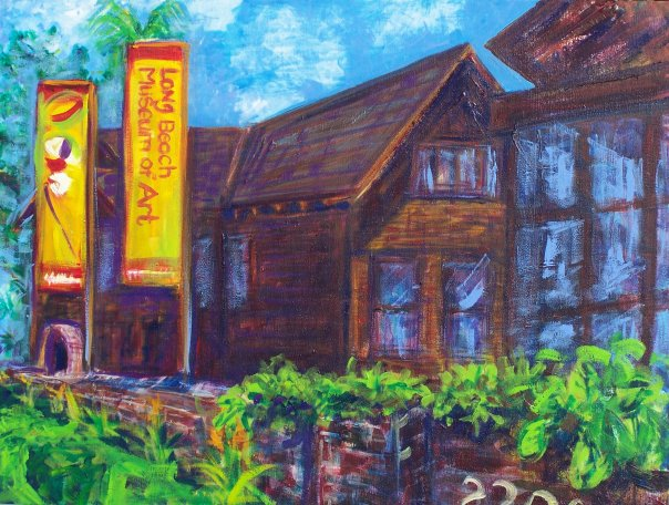 During the Tour des Artistes, I was asked to paint in front of the Long Beach Museum of Art to help