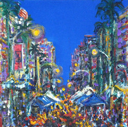 I painted this during the _Tour des Artistes_ while watching the Fire Dancers in the street
