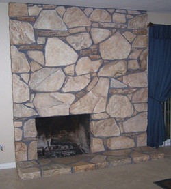 Faux Rock Fireplace after
