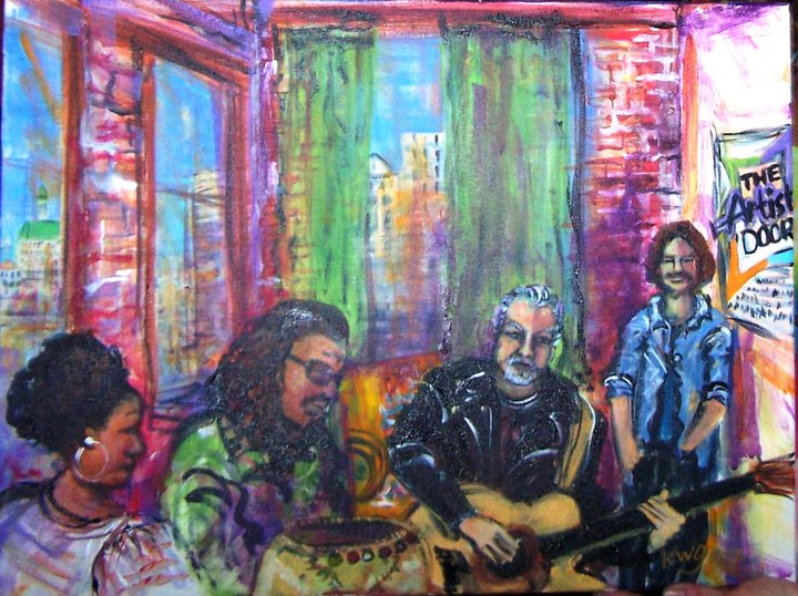 _The Artist's Door_ green room; musicians jamming while waiting to be interviewed by a local cable T