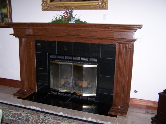Faux Wood Fireplace after