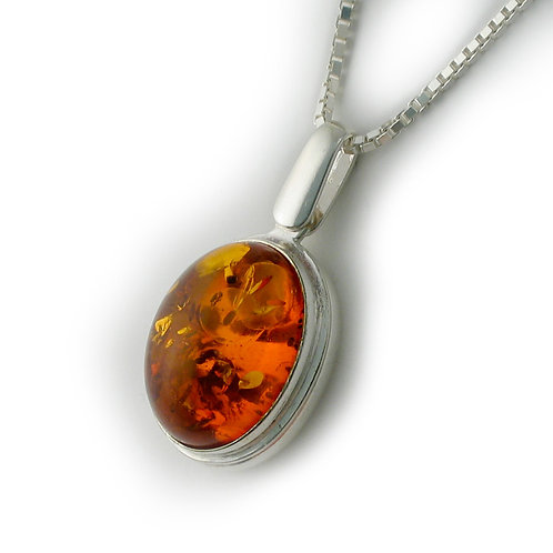 Oval Sterling Locket with Amber