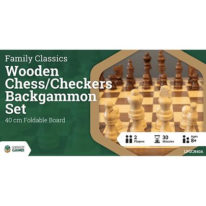 Chess & Backgammon Wooden Set - 40cm