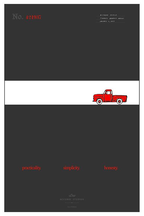 Red Truck Design Print