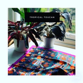 Silk scarves with patterns designed in Crouch End and made in the UK.