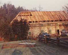 La reconstruction du Moulin du Portage en 1989
