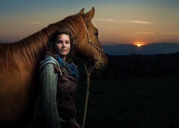 ritratto equestre al tramonto