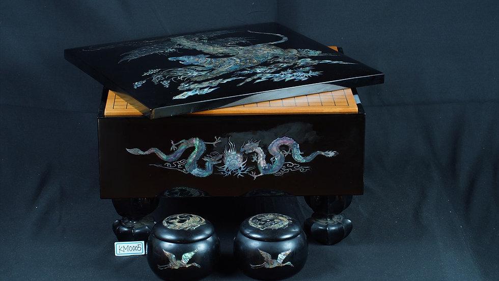 龍虎黒漆塗螺鈿装飾 脚付碁盤 碁笥セット