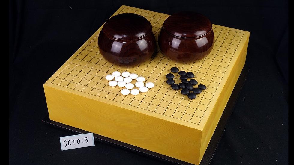 【SET013】日本産本榧 板目(木裏) 4寸卓上碁盤 セット