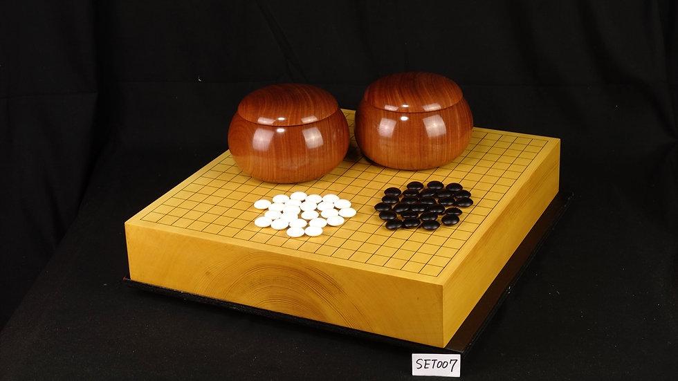 【SET007】日向産本榧 板目(木表) 卓上碁盤セット(月印37号、花梨 超特大)