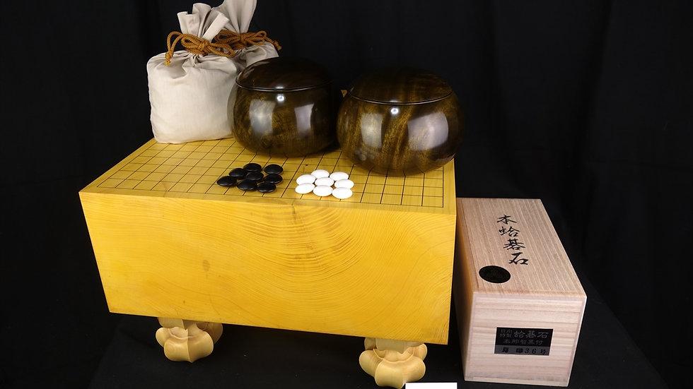 【SET045】九州産本榧 木裏 脚付碁盤セット(月印36号、楠杢碁笥 超特大)