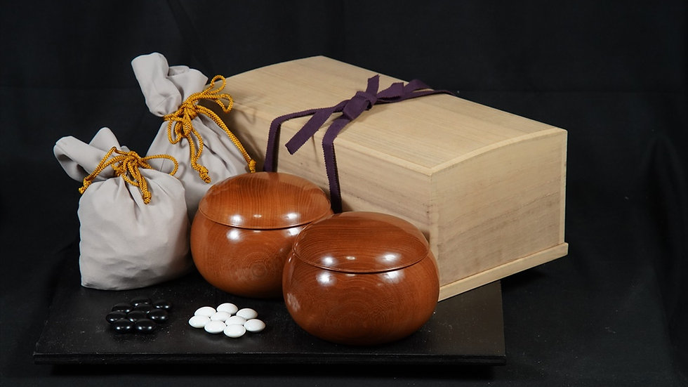 【SET033】蛤碁石・銘木碁笥セット(月印42号、欅 超特大)