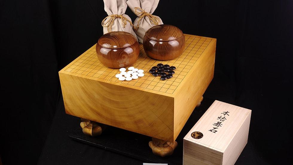 【SET018】綾営林署産本榧(木裏) 脚付碁盤 セット