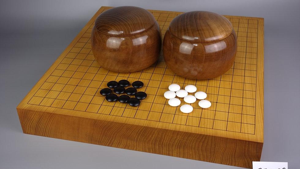【SET039】日向産本榧 天地柾  卓上碁盤セット(雪印34号、本桑 特大)