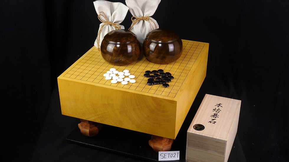 【SET021】本榧 柾目 脚付碁盤 セット