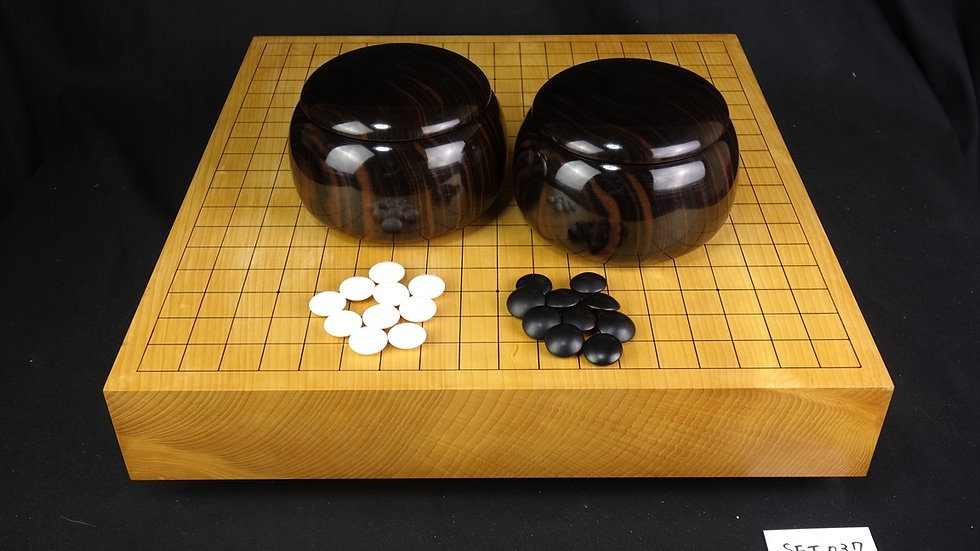 【SET037】日本産本榧 天地柾  卓上碁盤(低い脚付)セット(雪印32号、黒檀 特大)