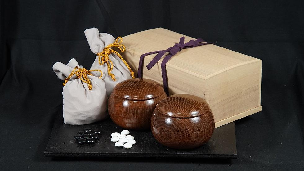 【SET040】蛤碁石・銘木碁笥セット(雪印36号、本桑 超特大)