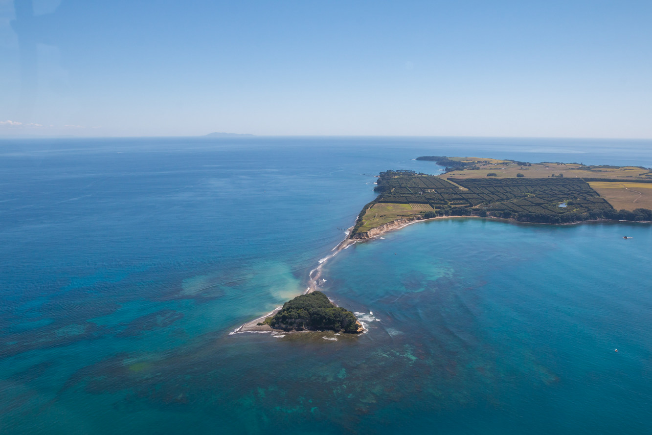 Helicopter flight past Motiti Island in the Bay of Plenty