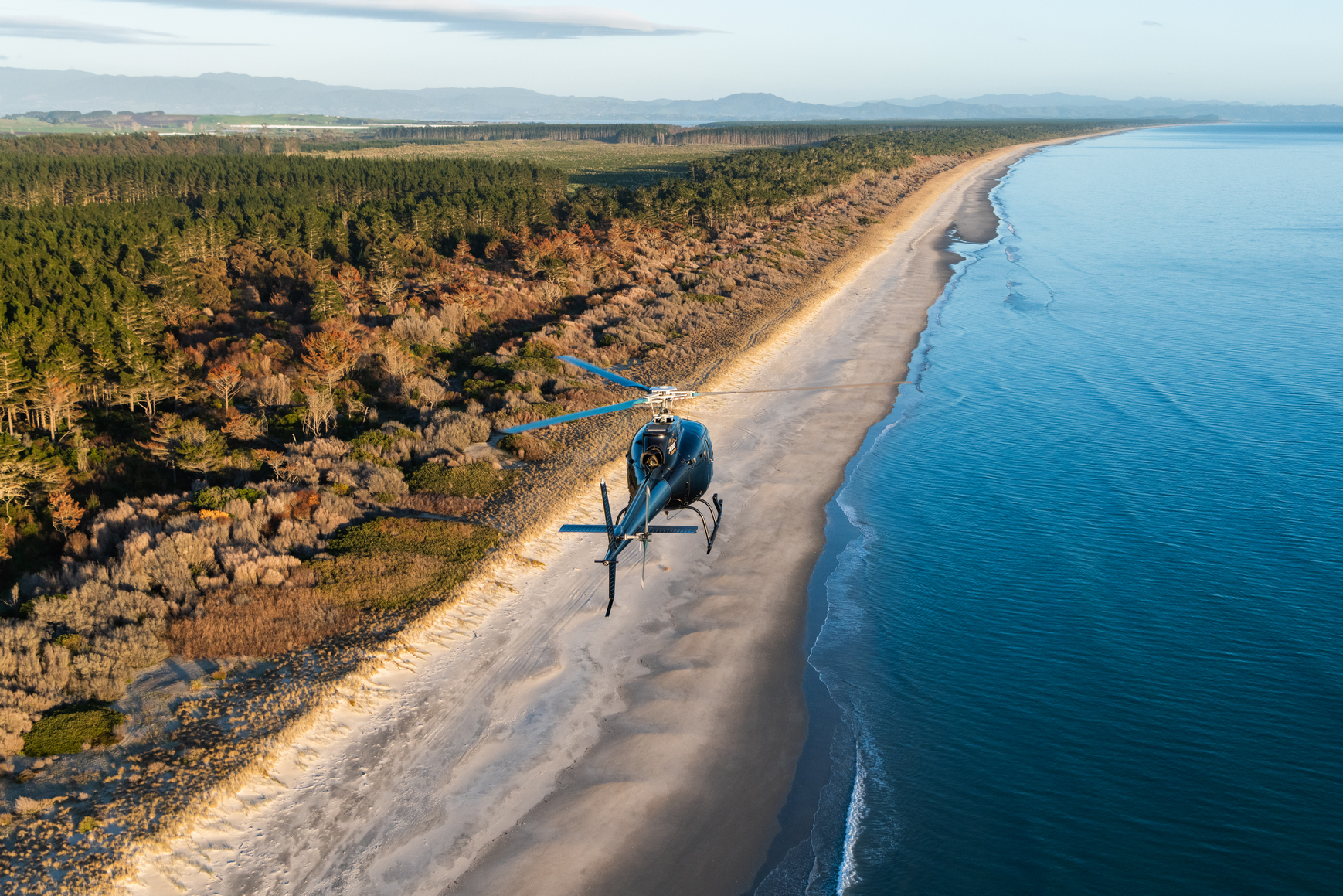 Flying along the Bay of Plenty coast