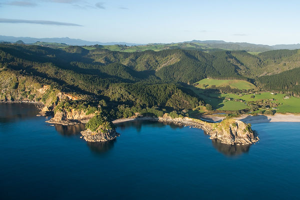 Flying along the rugged Coromandel coastline