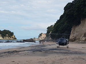 Helicopter on a private beach in the Coromandel