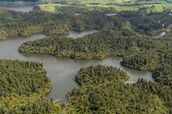 Flying over Lake Rotoehu in the Rotorua region