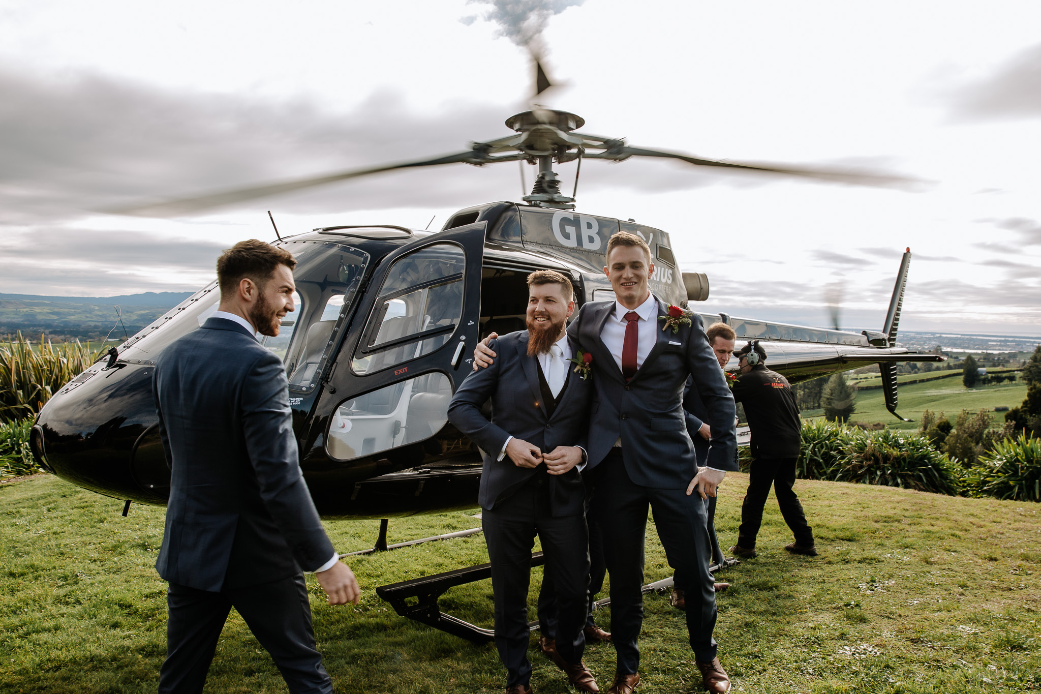 Arriving to the wedding in a helicopter