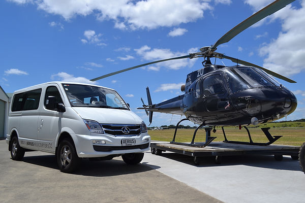 Helicopter and Minivan