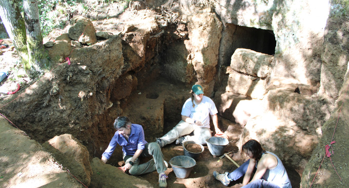 outside Etruscan chamber tomb