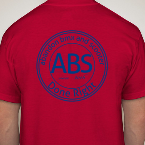 red with blue logo t shirt