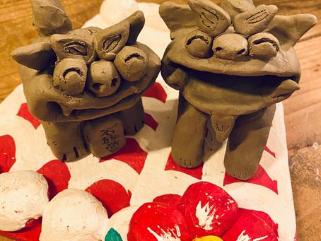 陶器シーサー作り体験😆💕