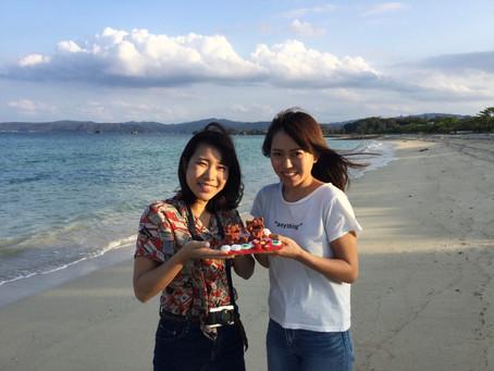 海でシーサーの撮影会♡