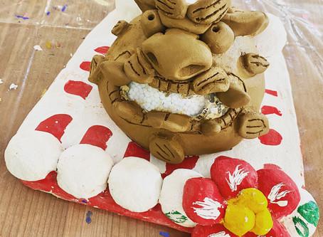 陶器で作る、面シーサー😄✨