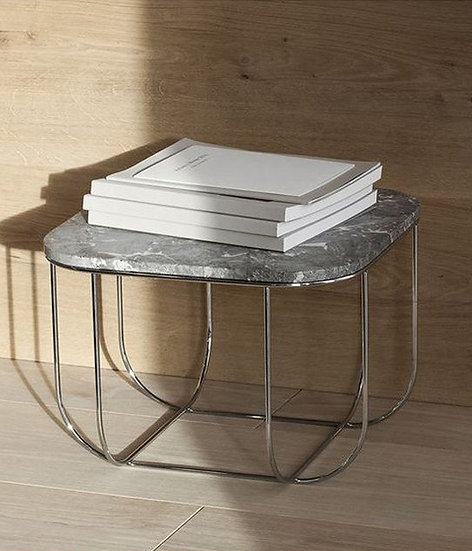 MENU FUWL Cage Table, Chrome/Grey Marble