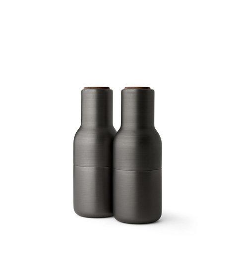 MENU Bottle Grinders Bronzed Brass Walnut Lid